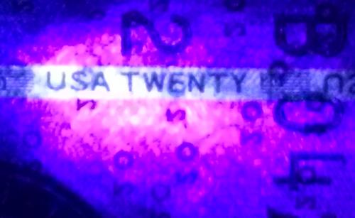 Twenty Dollar Bill Ultraviolet